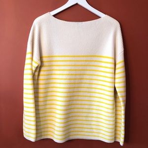 GAP Heavy Striped Yellow Cotton Sweater
